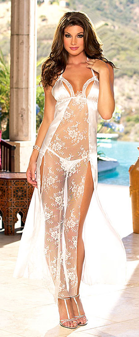 Bridal Lace Charmeuse Peignoir