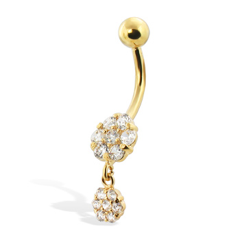 Gold Dangling Belly Button Ring