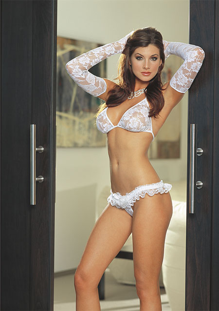 Stretch Lace Bra Top and Thong with Long Lace Gloves